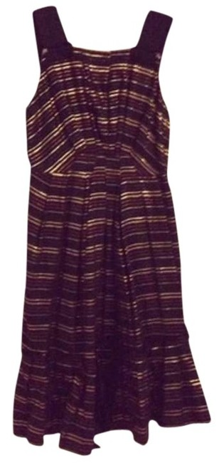 Marc Jacobs Chocolate/Multi Lurex Stripe Linen Pleated Sundress Knee Length Cocktail Dress Size 0 (XS) Marc Jacobs Chocolate/Multi Lurex Stripe Linen Pleated Sundress Knee Length Cocktail Dress Size 0 (XS) Image 1