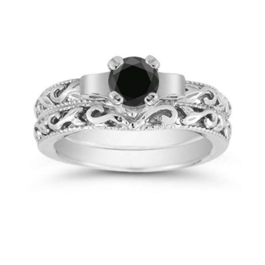 Apples of Gold Black 1/2 Carat Art Deco Diamond Set Engagement Ring