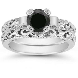 Apples of Gold Black 1 Carat Art Deco Diamond Set Engagement Ring