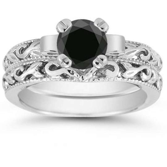 Preload https://item1.tradesy.com/images/apples-of-gold-black-1-carat-art-deco-diamond-set-engagement-ring-370360-0-0.jpg?width=440&height=440