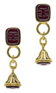 Chanel CHANEL VINTAGE RED GRIPOIX EARRINGS