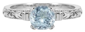 Apples of Gold Aquamarine 1 Carat Art Deco Ring Sterling Silver