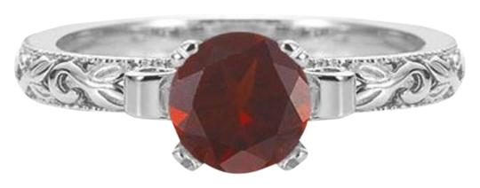 Apples of Gold Garnet 1 Carat Art Deco Ring in Sterling Silver