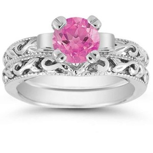 Apples Of Gold Pink Topaz 1 Carat Bridal Set In Sterling Silver
