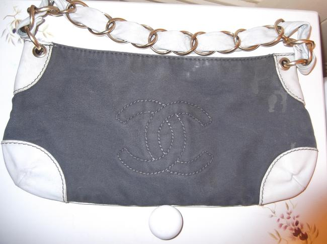 Item - Cc Logo Chain Handle Purse Navy Blue and White Canvas Leather Baguette