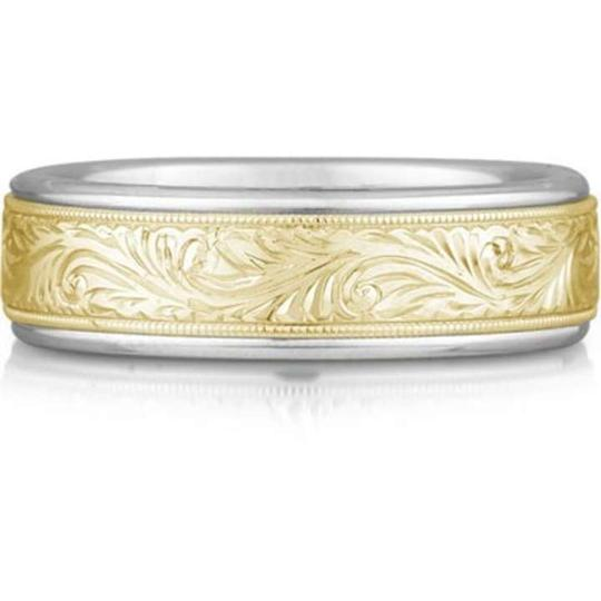 Apples of Gold Engraved Paisley Ring 14k Two-tone Men's Wedding Bands