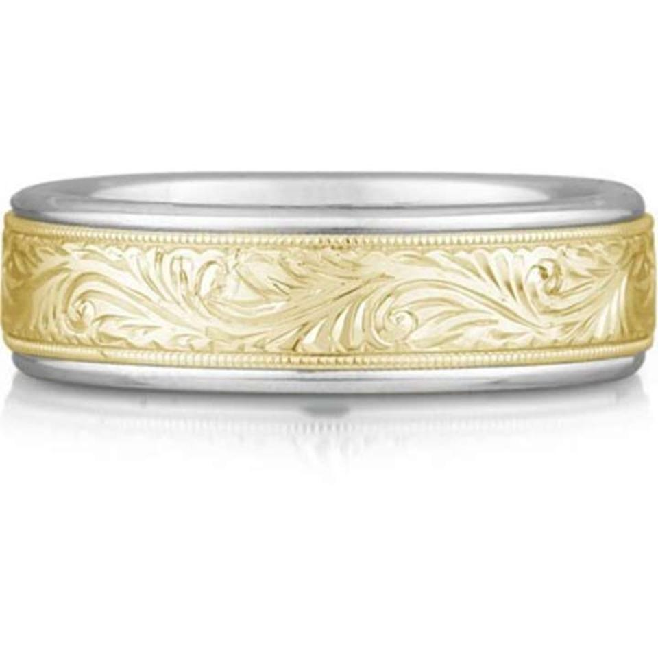 Apples Of Gold Engraved Paisley Ring 14k Two Tone Mens Wedding Band