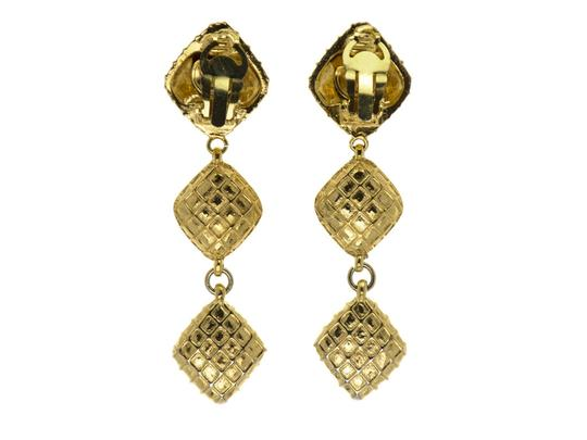 Chanel CHANEL VINTAGE GOLD QUILTED EARRINGS