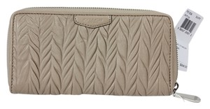 Coach * Coach Gathered Leather Accoridan SV Putty Zip Around Wallet F51236