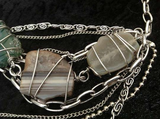 Other Chunky handmade twisted wire and chain natural stone necklace.