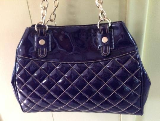 Maxx New York Patent Quilted Large Satchel in Purple