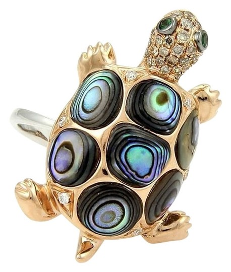 Other Turtle Ring in 18k Two Tone Gold 3.90ct Abalone Diamonds & Tsvorite