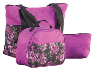 Other New Travel Set 3 Peice Feminine Vacation Shopping Tote in purples