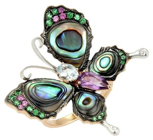 Butterfly Ring in 18k Two Tone Gold 5.50ct Multicolor Gemstones & Abalone Shell