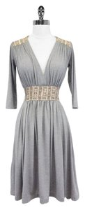 Zachary's Smile short dress Gray Knit Embroidered Tie Waist on Tradesy