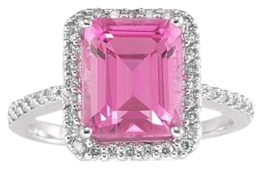 Apples of Gold Emerald-Cut Pink Topaz Gemstone Ring in 14K White Gold