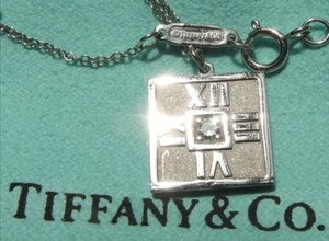 Tiffany & Co. Tiffany & Co 18K White Gold & Diamond Atlas Mini Square Pendant Necklace