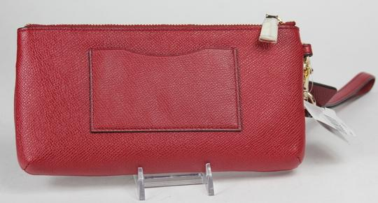 Coach Textured Leather Gold Hardware Wristlet in Red
