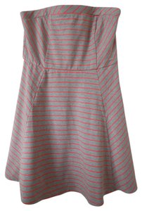 Xhilaration short dress Grey Pink Pink Striped Strapless on Tradesy