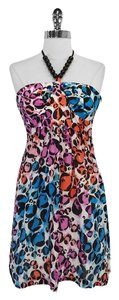 Trina Turk short dress Cotton Silk Beaded Halter on Tradesy