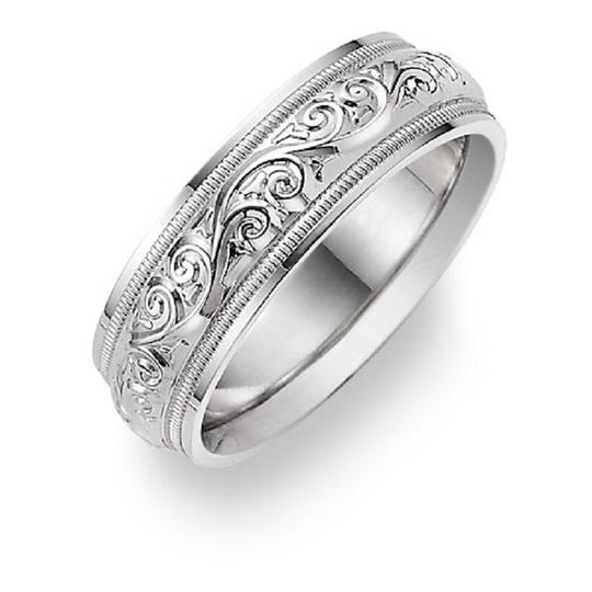 Apples of Gold Silver Paisley Etched Ring Women's Wedding Band