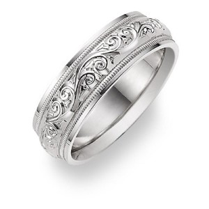 Les Of Gold Silver Paisley Etched Ring Women S Wedding Band