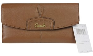 Coach Coach Ashley Leather Check Book Wallet F48062 - Saddle (Brown)