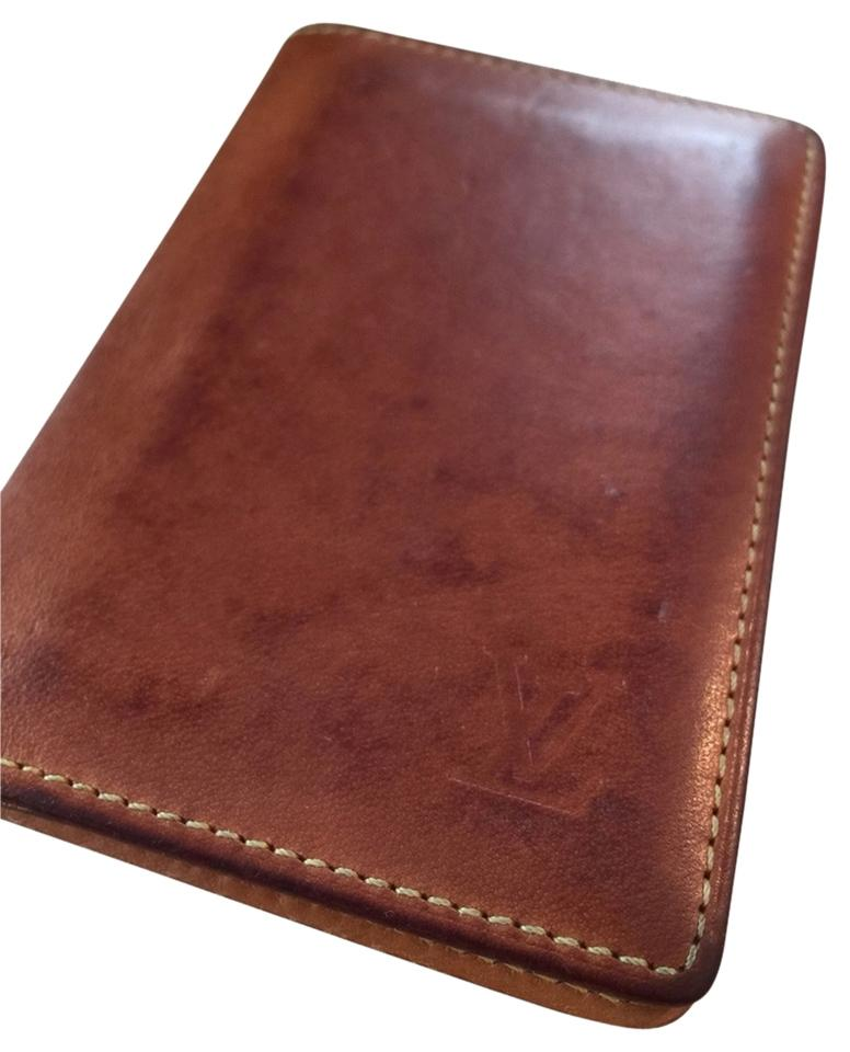 3ef46f23cf8a Louis Vuitton Brown Bifold Card Case Nomad Leather France Vintage Wallet