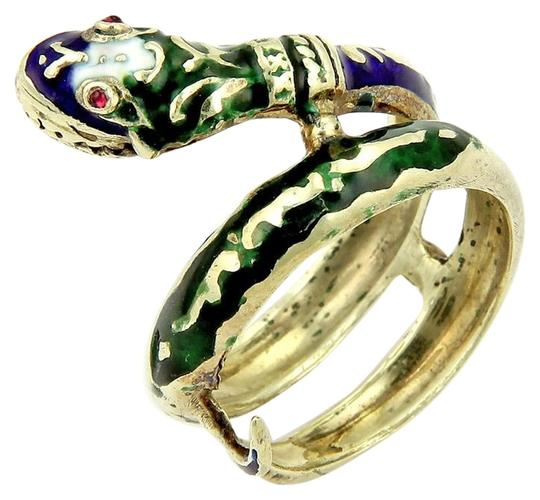 Modern Vintage 14k Yellow Gold Enamel & Ruby Coiled Snake Ring Image 1