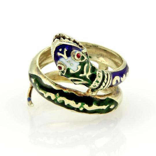 Other Vintage 14k Yellow Gold Enamel & Ruby Coiled Snake Ring