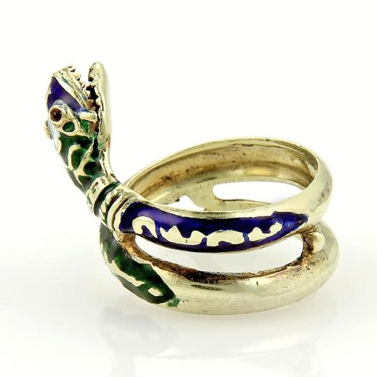 Modern Vintage 14k Yellow Gold Enamel & Ruby Coiled Snake Ring Image 2