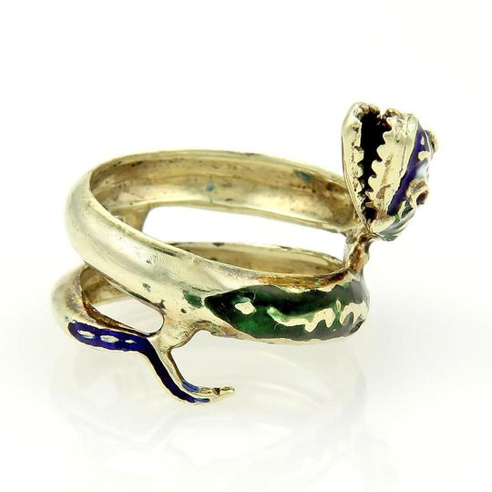 Modern Vintage 14k Yellow Gold Enamel & Ruby Coiled Snake Ring Image 4
