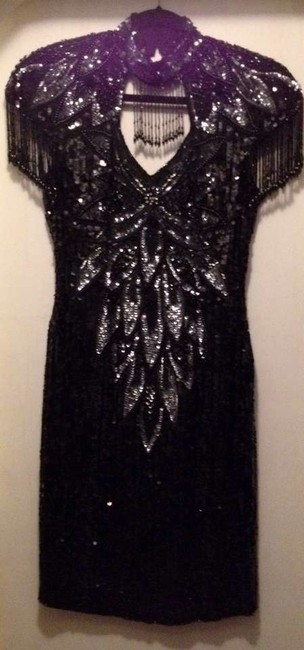 Custom-Made Beaded Choker Rhinestone Dress