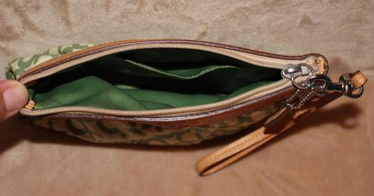 Coach Coach Leah Opt Art Coated Canvas Small Wristlet Green #42356