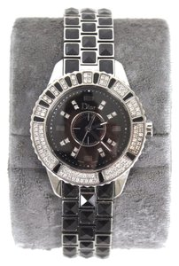 Dior Christian Dior Black Pyramid Sapphire Christal Stainless Steel Ladies Wristwatch