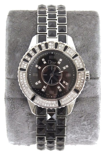 Preload https://item2.tradesy.com/images/dior-christian-black-pyramid-sapphire-christal-stainless-steel-ladies-wristwatch-watch-3709561-0-0.jpg?width=440&height=440