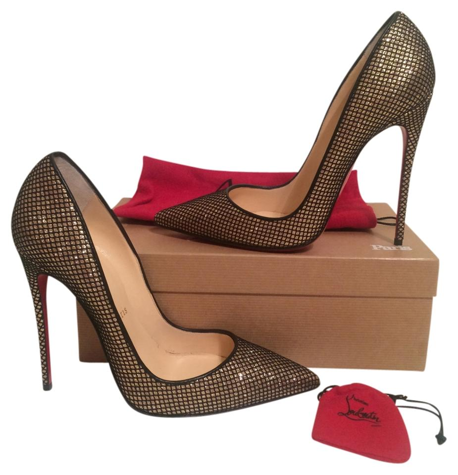 c1dd856d2c93 Christian Louboutin Gold So Kate Glitter Mini Fishnet Eu 39 New Pumps