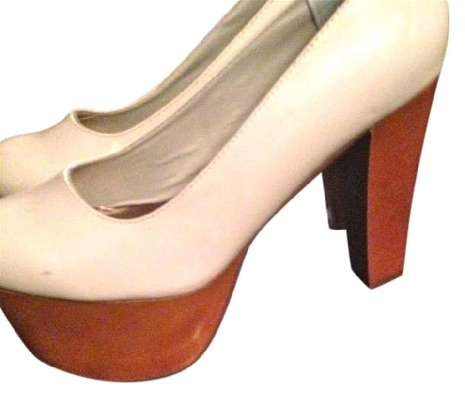 a36284ffe5e Bonnibel Wooden Unique Round Toe Shiny Nude Blush with Light Brown Wood  Platform Platforms ...