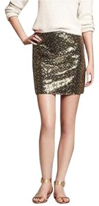 Banana Republic Skirt Sequin Green Gold
