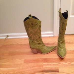 Melin (Shoes) Spring Cowboy Italy Green And Tan Boots