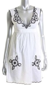 Indah short dress White Anthropologie Hibiscus Embroidered Black on Tradesy