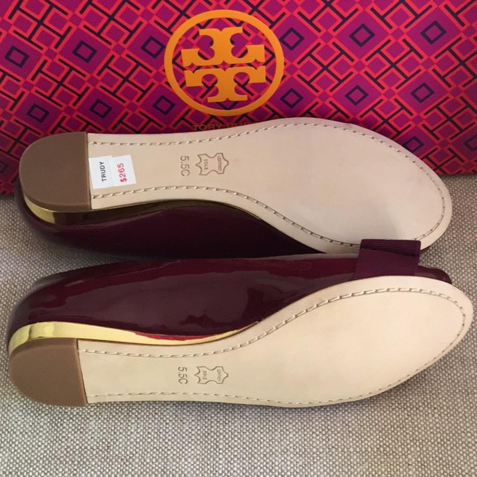 e94e3d6250f5 Tory Burch Cabernet Trudy 15mm Open Toe Wedge Flats Size US 5.5 Wide ...