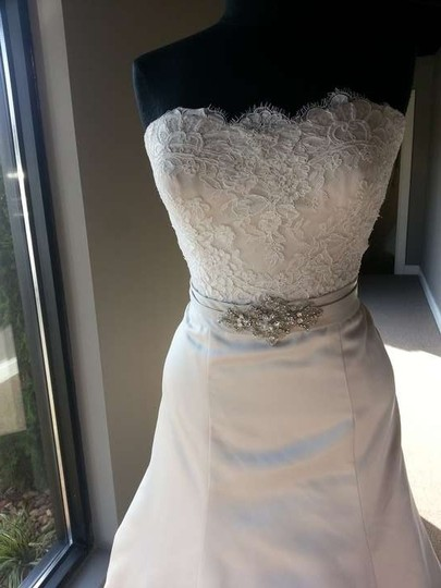 Allure Bridals Champagne/Ivory/Silver Satin/Lace 9059 Modern Dress Size 12 (L)