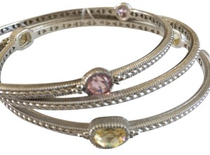 Judith Ripka J. Ripka Canary Yellow & Pink Crystal Bangle Set