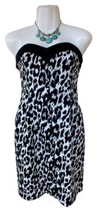 Betsey Johnson Black Leopard Strapless Dress