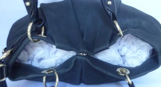 Vince Camuto Leather Charm Gold Hardware Logo Satchel in Black