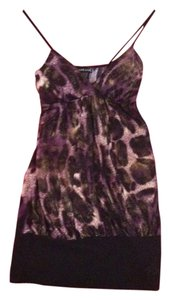 Wet Seal Top Black/Purple/Gold Animal Print