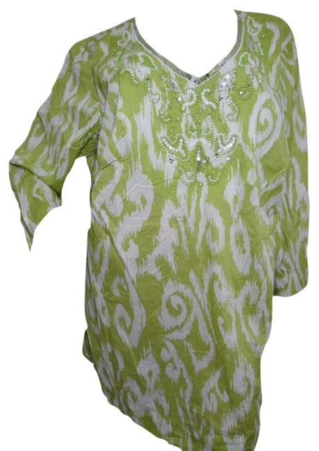 JM Collection Studded Embroidery V-neckline 3/4 Sleeves Length Pullover Style Tunic