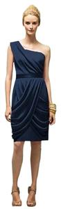 Lela Rose Tea Length One Chiffon Blue Dress