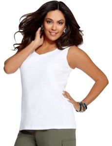 Karen Scott Scoop Neckline Pullover Style Sleeveless Top White